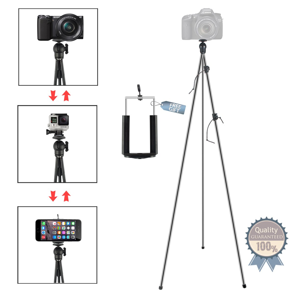 Phone Camera Stand Tripod, ZIPPOD 45 Inch Flexible And Compact Camera Tripod 10 Oz Lightweight Travel Tripod With Phone Tripod Mount Adapter For Iphone 6, Smartphone And DSLR Camera With Carry Bag by Tonhie