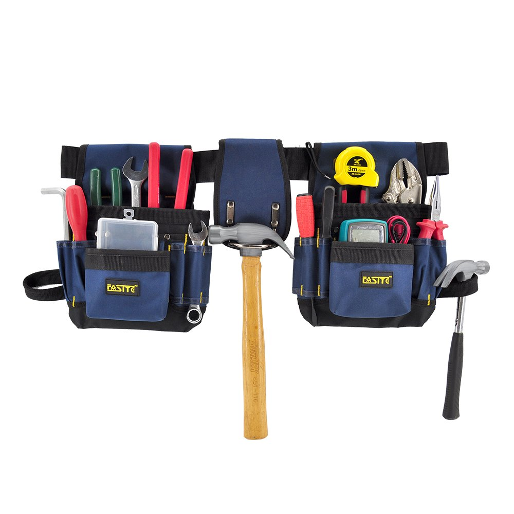 FASITE PTN012 32-POCKET Electrical Maintenance Tool Pouch Bag Technician's Tool Holder Work Organizer Framer's Tool Belt, Blue by FASITE (Image #1)
