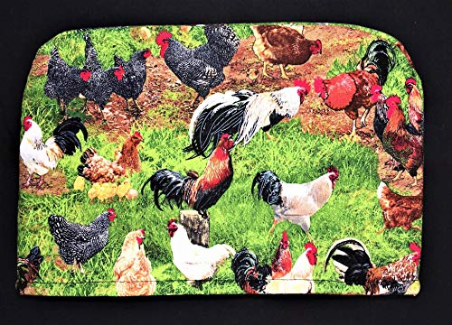 4 Slice Chickens Chicks Roosters Barnyard Reversible Appliance Toaster Dust Cover Cozy 11.5(l) x 7.5(h) x 11.5(w)