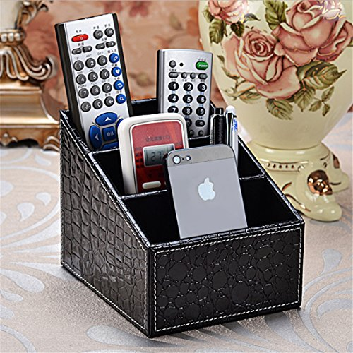 Remote Control Holder Leather TV Remote Caddy Organizer Media Organizer 3 Slot Office Supply Storage Rack(Crocodile Black) Leather Crocodile Coffee Table