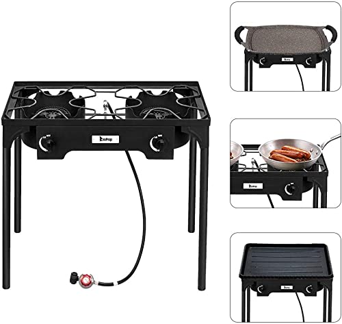 Henf Outdoor Camp Stove High Pressure Propane Gas Cooker Portable Cast Iron Patio Cooking Burner Perfect for Camping Patio Double Burner 150000-BTU