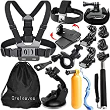 Greleaves Outdoor Sports Accessories Kit for GoPro Hero Black Silver 5/4/3/2/1 SJ4000 SJ5000 SJ6000 Xiaomi Yi/WiMiUS/Lightdow/DBPOWER/Apeman/AKASO Action Video Cameras