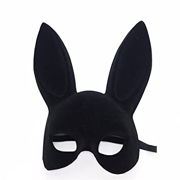 Mardi Gras Party Masquerade Mask,Double-Sided Flocking Rabbit Ears Bunny mask bar New