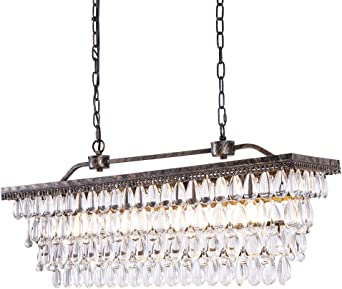 Rectangle Linear Crystal Chandelier