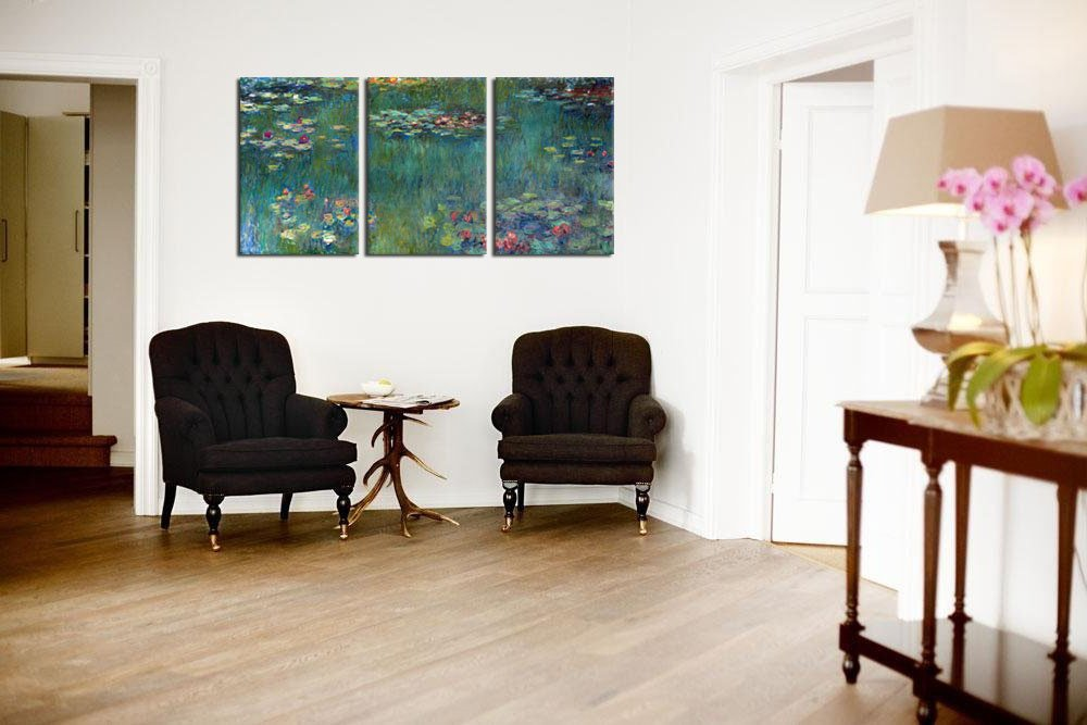 Amazon.com: Water Lilies By Claude Monet Oil Painting Canvas Prints Wall  Art Decor Framed Ready To Hang   3 Panel Large Size 30 By 60 Inch Modern  Giclee Art ... Part 62