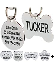 GoTags Stainless Steel Pet ID Tags, Personalized Dog Tags and Cat Tags, up to 8 Lines of Custom Text Engraved on Both Sides, in Bone, Round, Heart, Bow Tie, Flower, Star and More