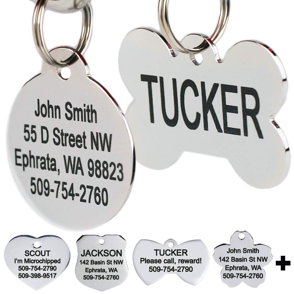64ffdf164fb5 GoTags Stainless Steel Pet ID Tags, Personalized Dog Tags and Cat Tags, Up  to 8 Lines of Custom Text, Engraved on Both Sides in Bone, Round, Heart,  Flower, ...