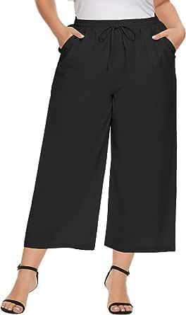 Hanna Nikole Women Plus Size Cropped Pants Cotton Linen Drawstring Waist Trouser