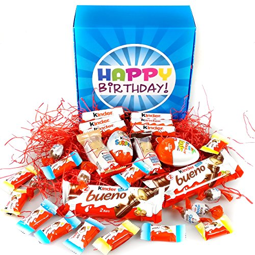 Happy Birthday Ultimate Kinder Gift Box - A Selection of Kinder Bars, Joy Egg, Surprise Egg, Hippos, Mini's and Choco-Bons - By Moreton Gifts