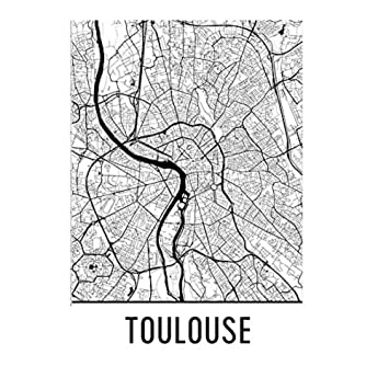 Toulouse Karte.Toulouse Poster Toulouse Kunstdruck Toulouse Wandkunst Toulouse