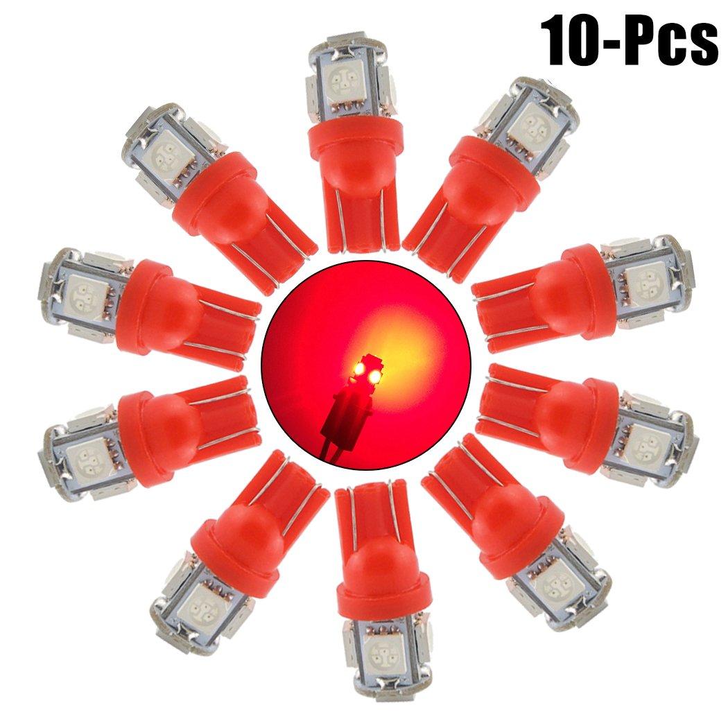 Fansport Car LED Bulb, 10PCS T10 5050 5SMD 12V Car Wedge Light Car Interior Bulb Parking Bulb