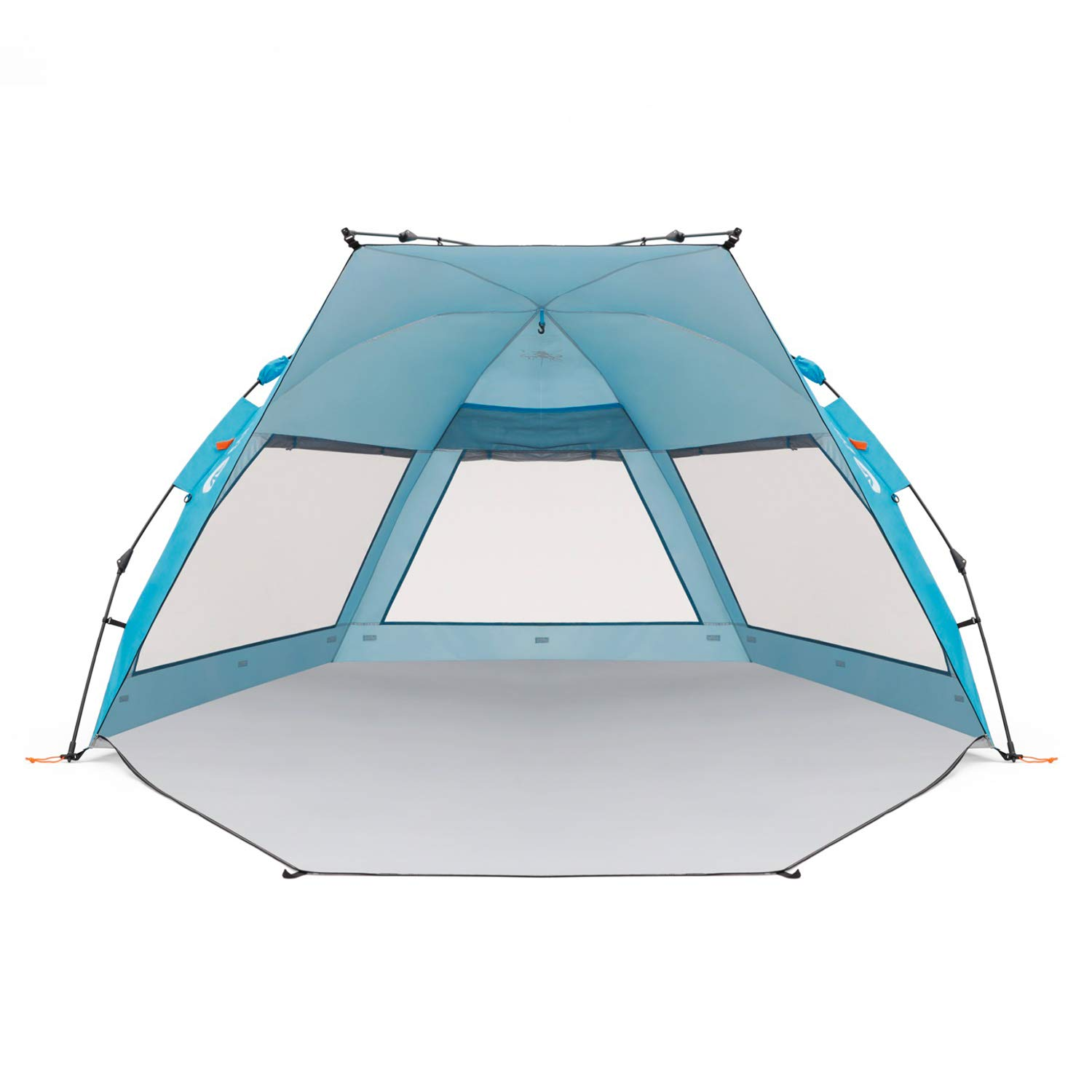 Easthills Outdoors Coastview Classic 2-4 Person Deluxe XL Beach Tent Pop Up Sun Shelter Double Silver Coating Sun Shade Instant Tent for Beach with Carrying Bag Pacific Blue by Easthills Outdoors