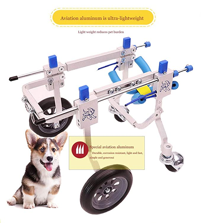 Amazon.com: Adjustable Dog Wheelchair Lightweight Aluminum Scooter Walking Aids for Dogs Wheelchair for Medium-Sized Small Pets Leg Repair Walking Car ...