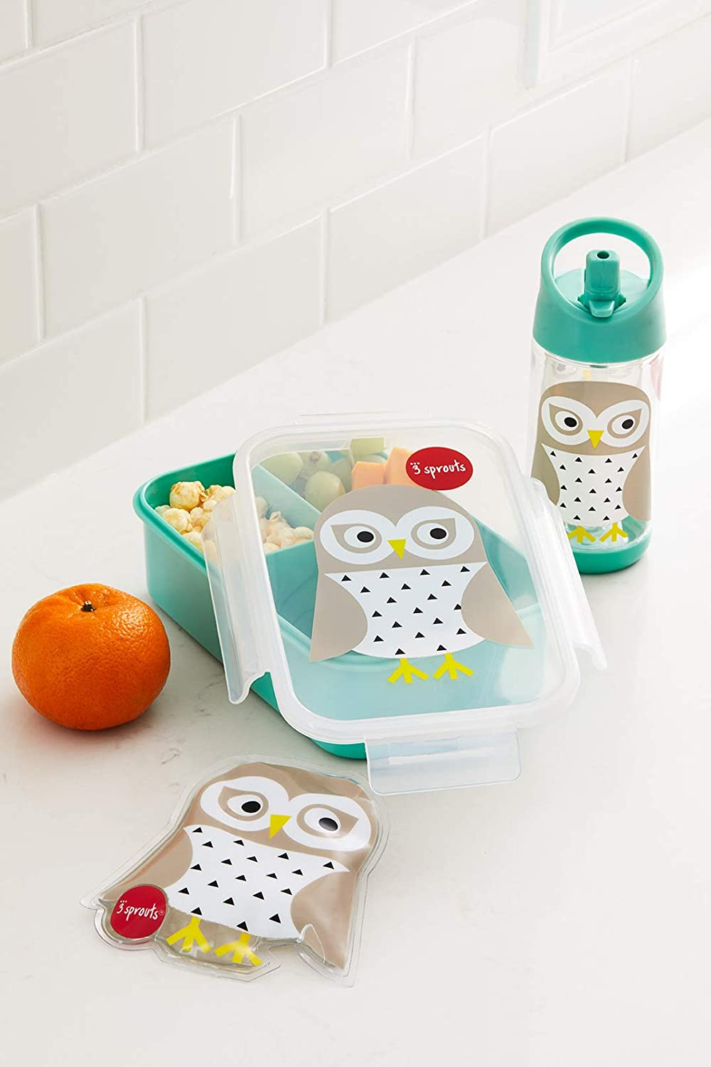 3 Sprouts Lunch Bento Box Leakproof 3 Compartment Lunchbox Container for Kids, Mint, Owl UBBOWL