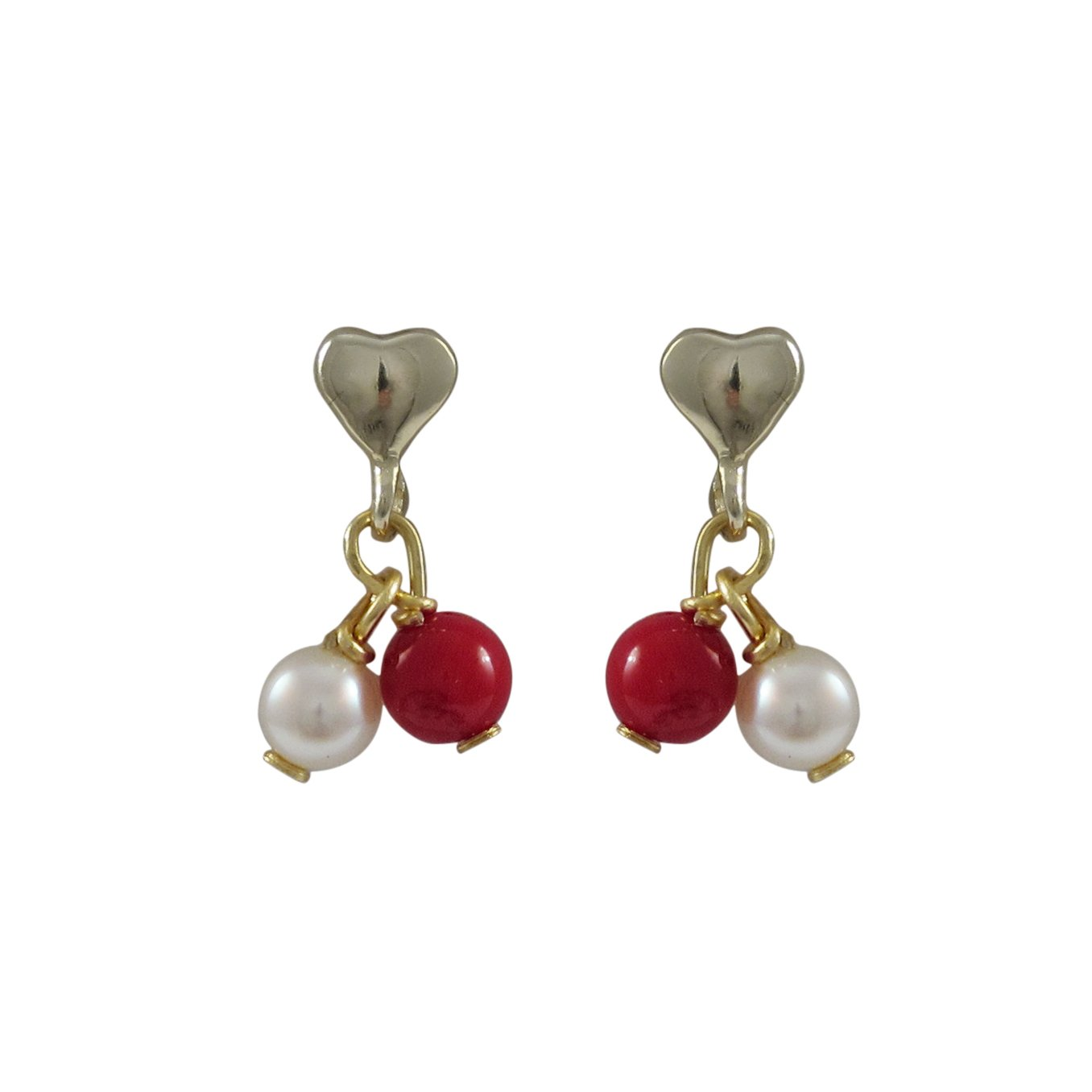 Ivy and Max Gold Finish Red Beads Faux Pearls Heart Girls Earrings