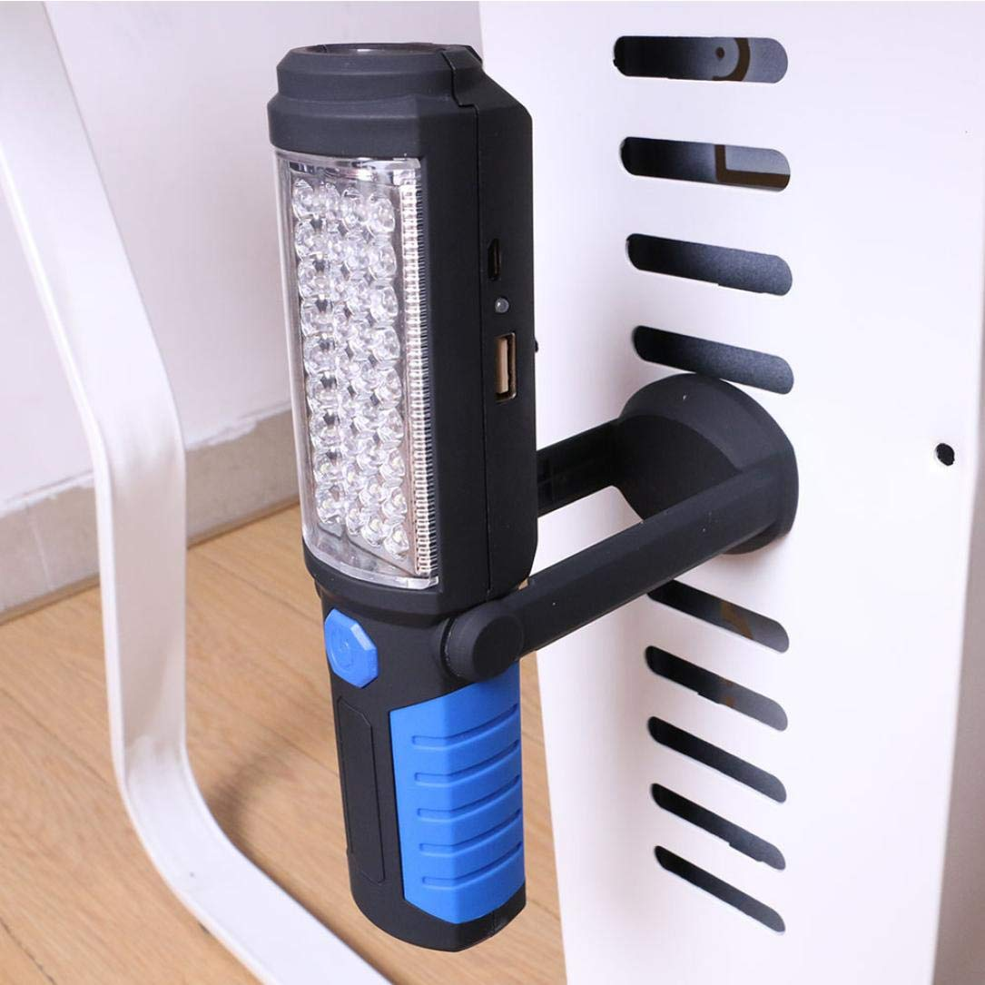 Ugood USB Rechargeable 36+5LED Work Light Magnetic Emergency Flashlight Torch (Blue)
