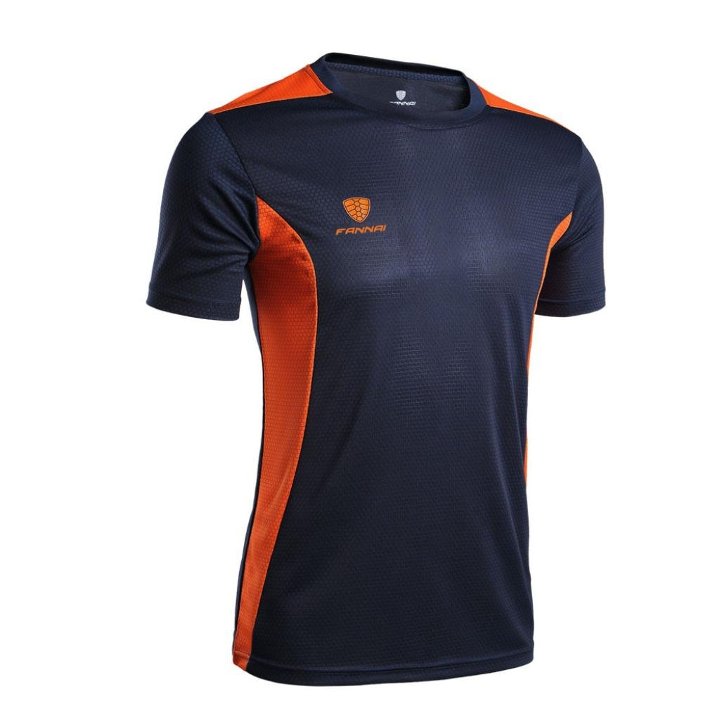 Easytoy Men Two Tone Quick Dry Workout Shirt Fitness Stretch Short Sleeve Tops