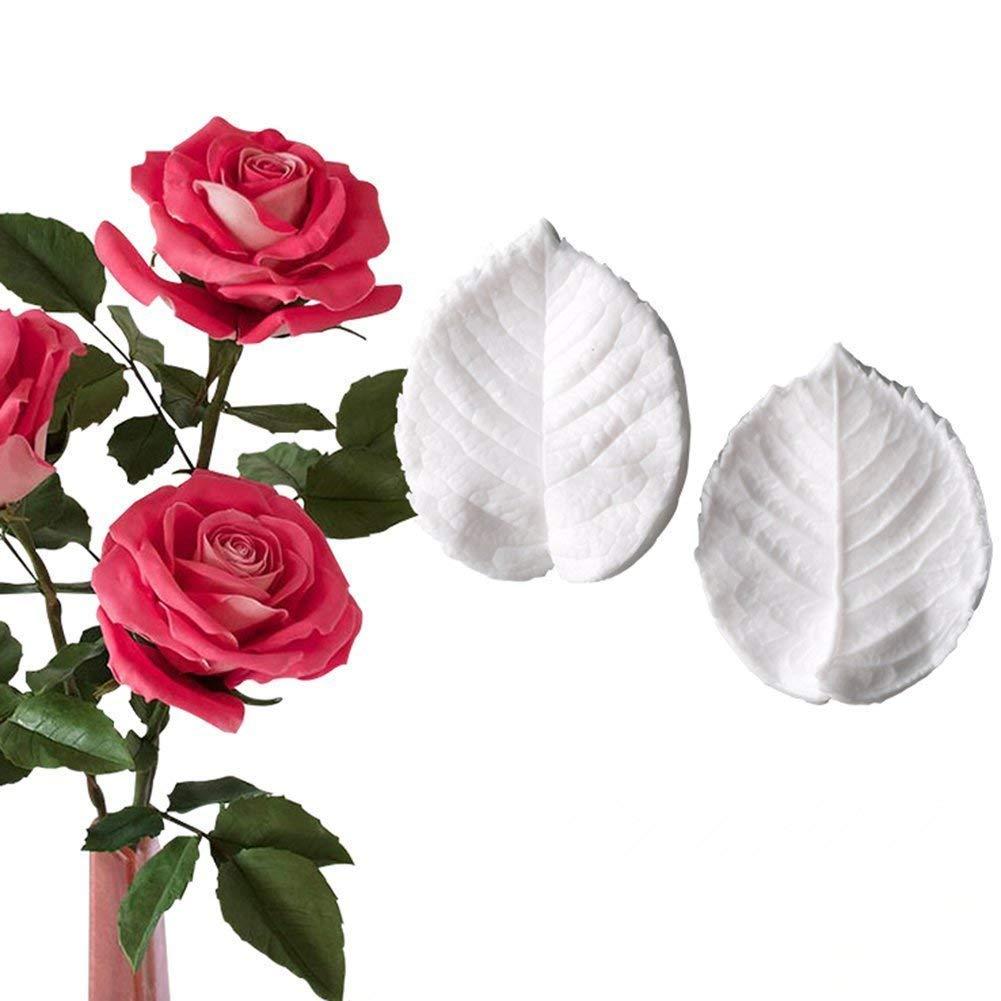 KALAIEN Leaf Petal Veiner Gum Paste Mold Sugar Craft Tools Rose Flower Leaf Vein Double Veiners Mold
