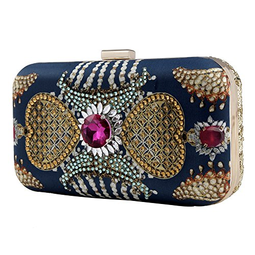 Gupta Festive by Designer for Kundan Blue Purses Women's Evening Stylish Puneet Women Indian Clutch xCIHzqOcpw