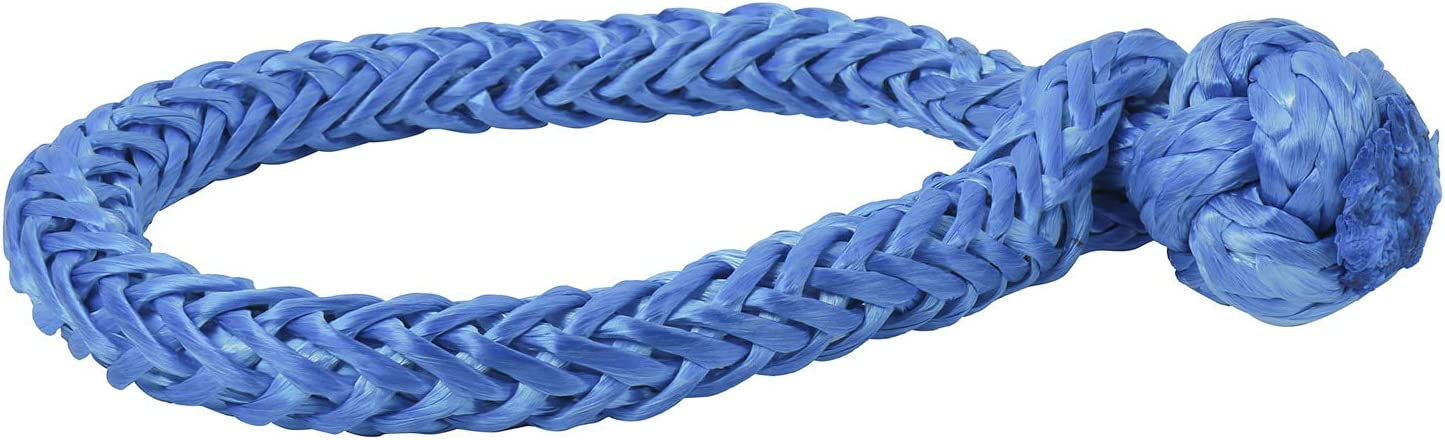 Blue NovelBee 2 Pack of Soft Shackles,UHWMPE 12 Strand Synthetic Rope,Inner core Dia:6mm;Bow Width:100mm