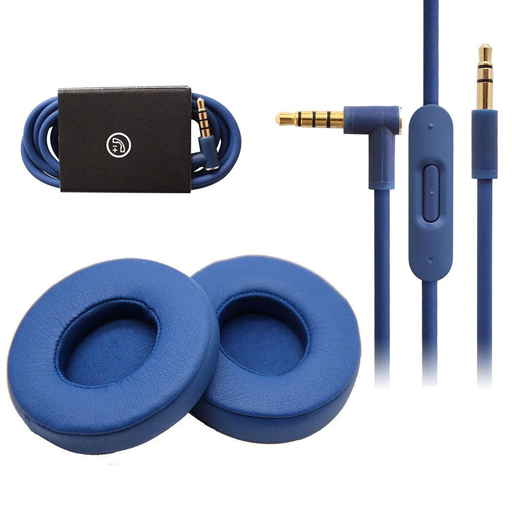 Studio 2.0 Earpads audio Cable Replacement Microphone Talk Cable + Ear Cushions For Beats Studio Wireless Over-Ear Headphones (Blue)