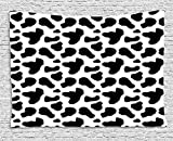 Cow Print Tapestry, Cow Hide Pattern with Black Spots Farm Life with Cattle Camouflage Animal Skin, Wall Hanging for Bedroom Living Room Dorm, 80 W X 60 L Inches, White Black