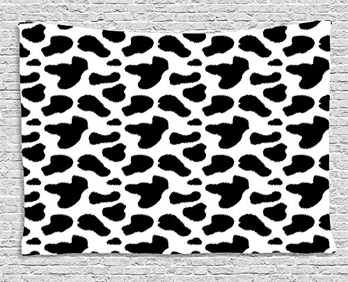 Cow Print Tapestry, Cow Hide Pattern with Black Spots Farm Life with Cattle Camouflage Animal Skin, Wall Hanging for Bedroom Living Room Dorm, 80 W X 60 L Inches, White Black by asddcdfdd
