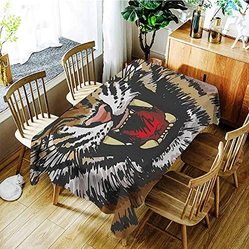 XXANS Fashions Rectangular Table Cloth,Tiger,Digital Drawing of Large Feline Sketch Style Angry Big Cat with Intense Eyes Print,Modern Minimalist,W50x80L Multicolor