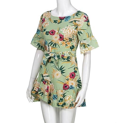 Mujeres de moda correa de espagueti Floral Print Beach Style Skater una línea Mini vestido vestidos de fiesta para bodas cortos ☚Longra: Amazon.es: ...