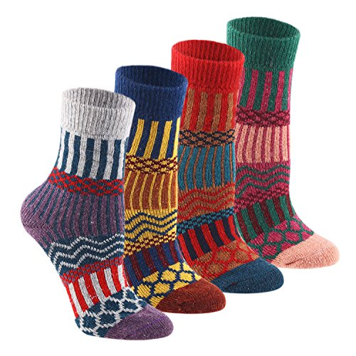 Keaza Women's Vintage Style Cotton Knitting Wool Warm Winter Fall Crew Socks - C4 (4 - Fall Style Women