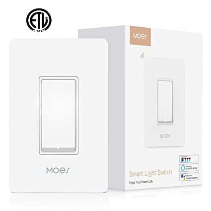 MOES WiFi Smart Light Switch,Smart Life/Tuya APP Remote Control,Compatible  with Alexa Google Home for Voice Control,No Hub Required ETL
