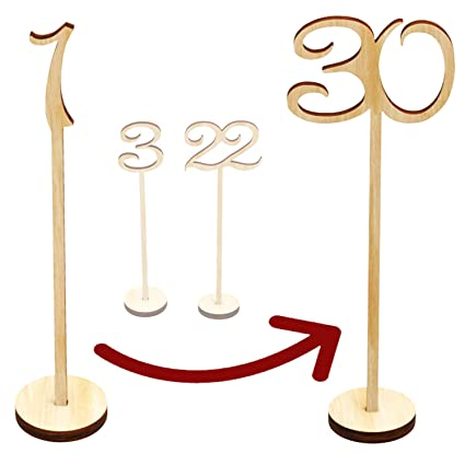 1 To 20 Wedding Wooden Place Card Holder Table Number Stands Rustic Wedding Decoration Centerpieces Wedding Party Decor Festive & Party Supplies
