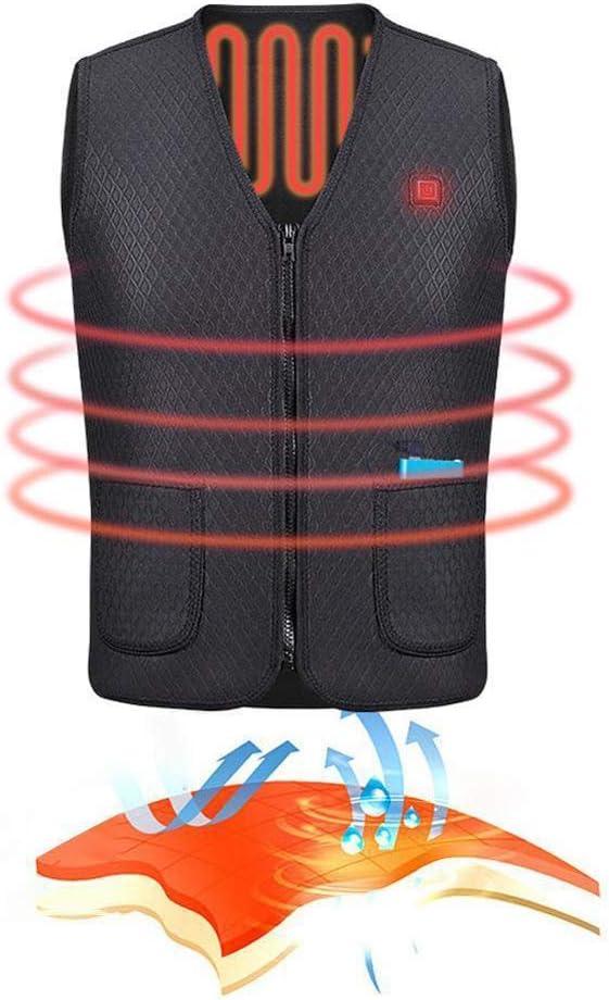 Gilet Senza Maniche Giacca per Inverno-sport Pesca Escursionismo Ciclismo Gilet con USB Riscaldato a Temperatura Costante Intelligente Alomejor Gilet di Riscaldamento