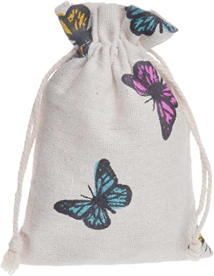 10Pcs Butterfly Linen Jewelry Pouches with Cotton Drawstring Wedding Gift Bags