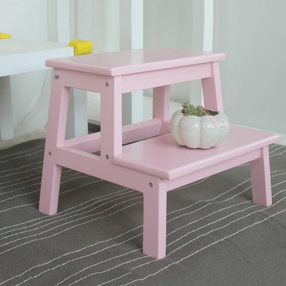 WSSF- 子供のステップラダースツールポットトレーニングシートステップスツール戸口シューベンチハイペダルフットスツールソリッドウッド低スツール、39.5 * 35 * 35センチメートル (色 : Pink) B07DQFQPRY Pink Pink