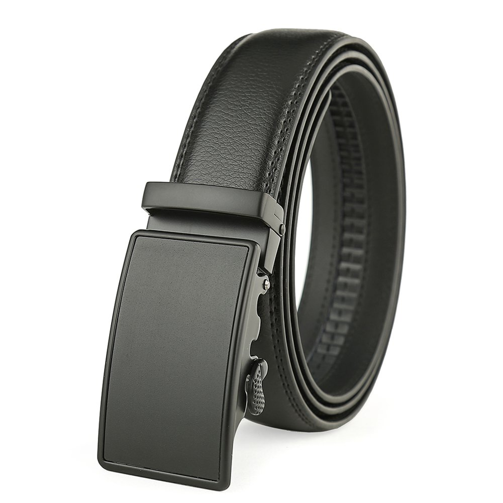 Men's Solid Buckle with Automatic Ratchet Leather Belt 35mm Wide