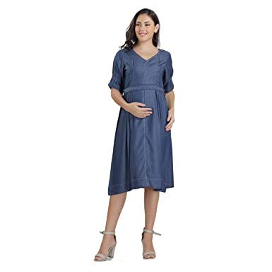7dd9089f13afb HOUSE OF NAPIUS Maternity Denim Dress with Belt Small: Amazon.in ...