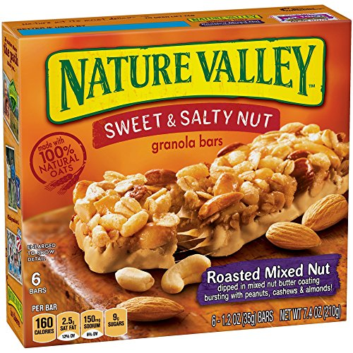 Nature Valley Granola Bars, Sweet and Salty Nut, Roasted Mixed Nut, 6 Count - 1.2 oz Roasted Sweet Fruit