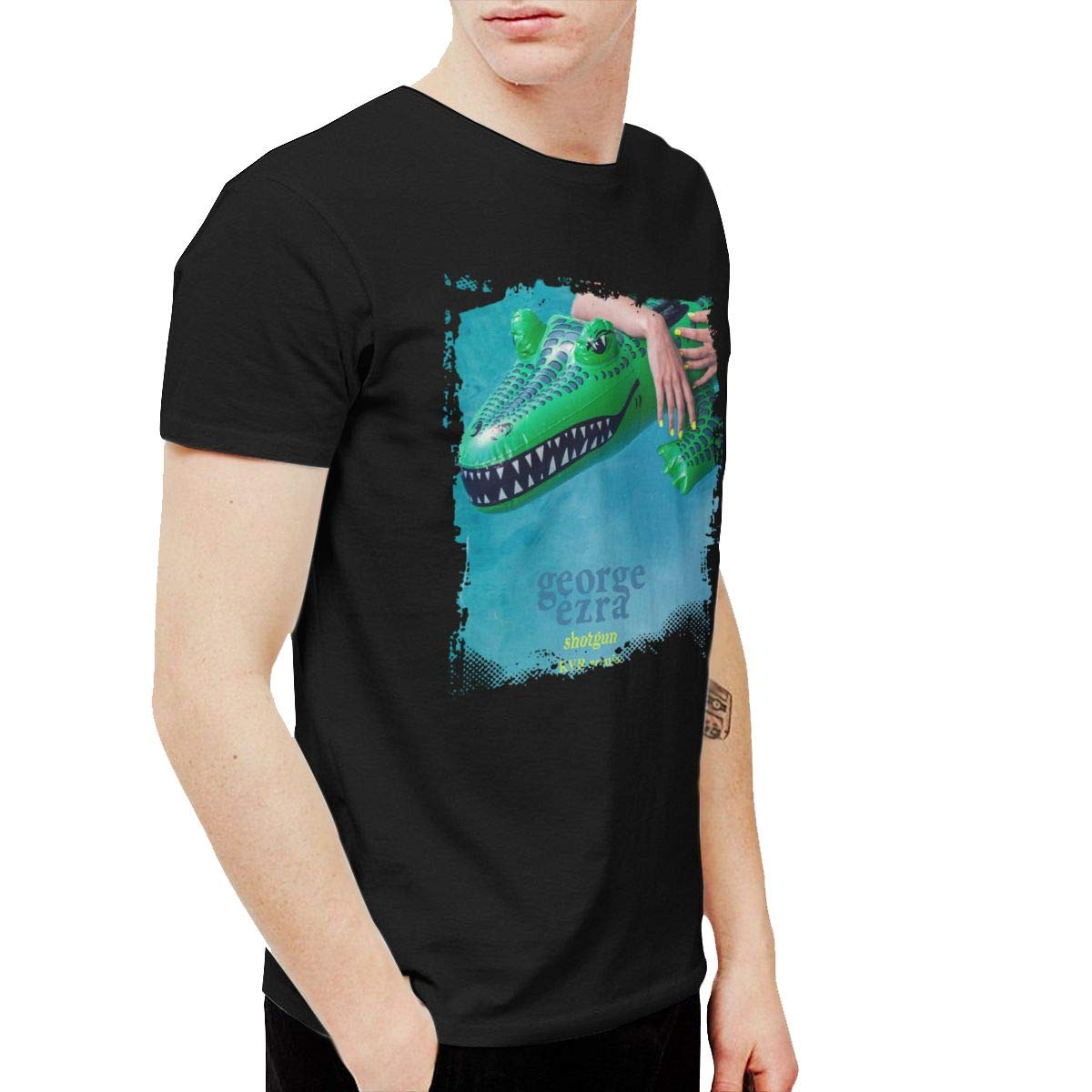 Kangtians SIPDGXKKZA Mens George Ezra Shotgun Leisure Walk Black Shirt Short Sleeve
