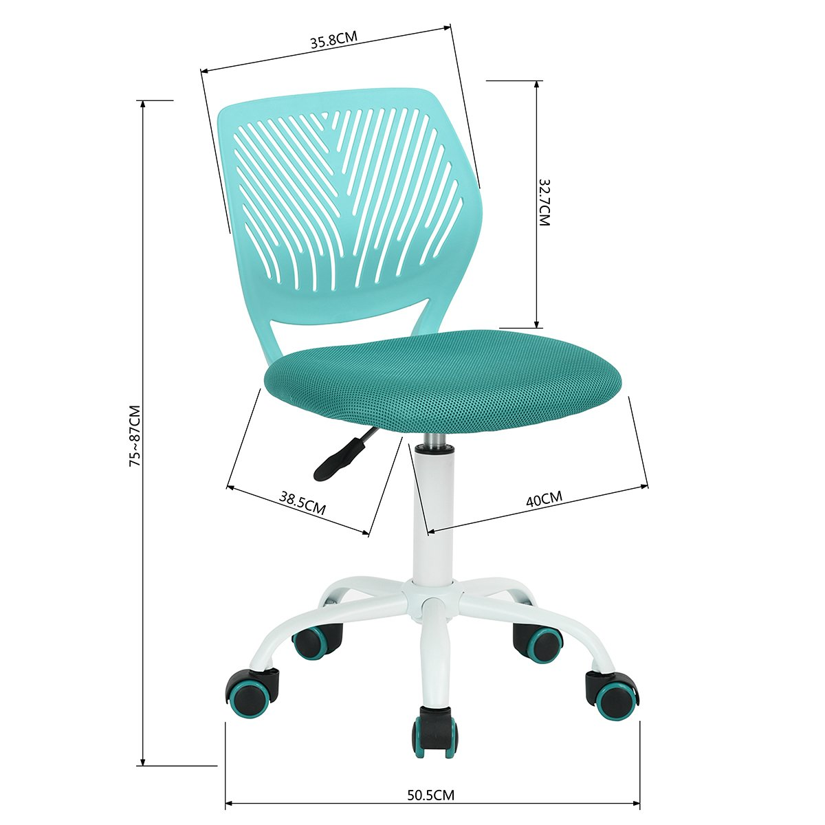 FunitureR Armless Swivel Desk Chair Kids Study Chair Plastic Colorful Wheels Turquoise