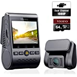 VIOFO Dash Cam A129 Duo Dual Dashboard Camera Full HD 1080P Wi-Fi SONY STARVIS Sensor Night Vision with GPS and 64GB SD Card, Support Anti-glare Filter, 24H Parking Monitor, G-Sensor, Loop Recording