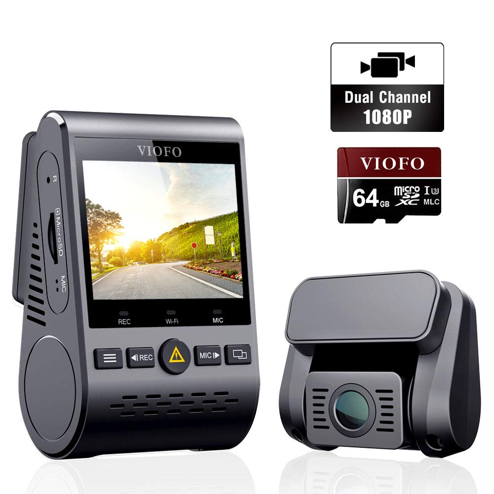 Motion Detection,WDR 24H Parking Monitor VIOFO Dash Cam A129 Duo Dual Dashboard Camera Full HD 1080P Wi-Fi SONY STARVIS Sensor Night Vision with GPS and 64GB SD Card G-Sensor Loop Recording