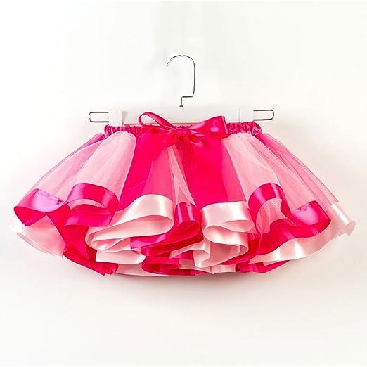 Yukong - Falda tutú con Lazo para niñas, diseño de arcoíris ...