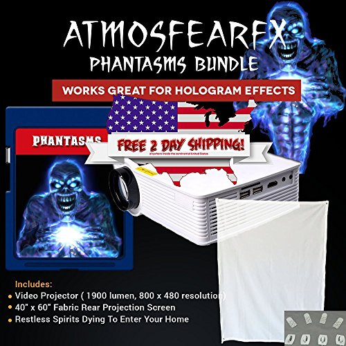 Atmostfearfx Phantasms SD Media Card Video Projector Bundle. 1900 Lumen Video Projector -