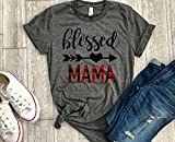 Blessed Mama Buffalo plaid Mom Shirt Womens T Shirt Casual Short Sleeve T-Shirt Top Graphic Tee Thankful