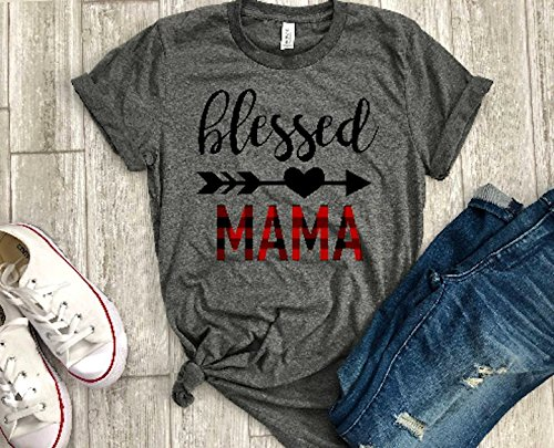 Blessed Mama Buffalo plaid Mom Shirt Womens T Shirt Casual Short Sleeve T-Shirt Top Graphic Tee Thankful by Up2ournecksinfabric LLC