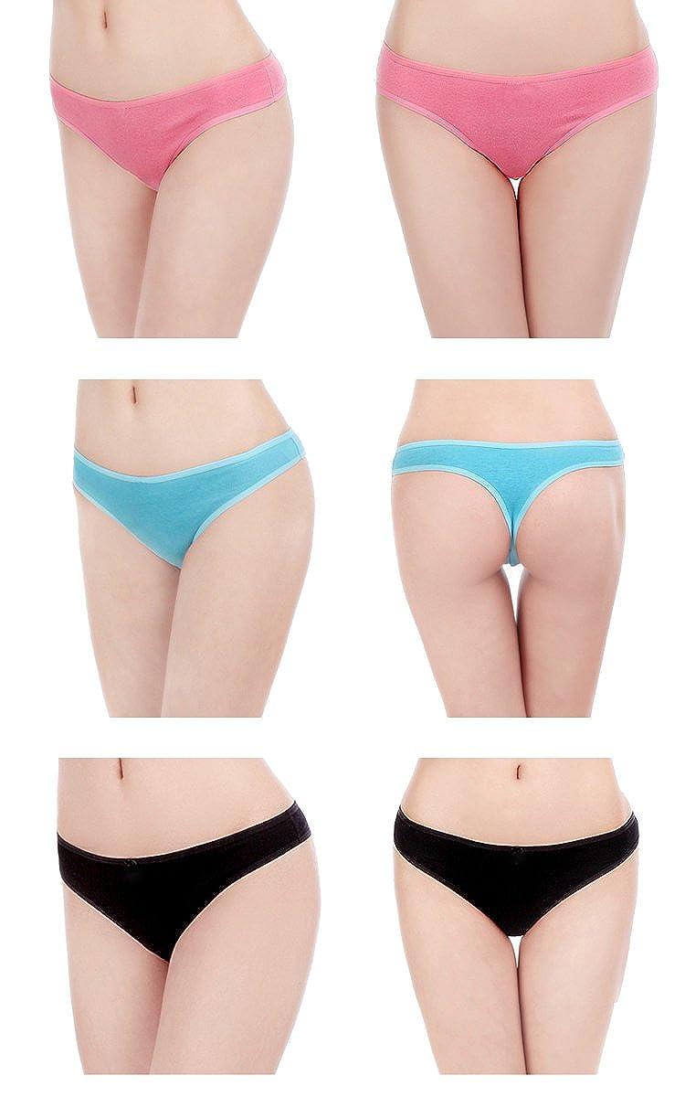 ELACUCOS 6 Pack Womens Thongs Cotton Breathable Panties Bikini Underwear
