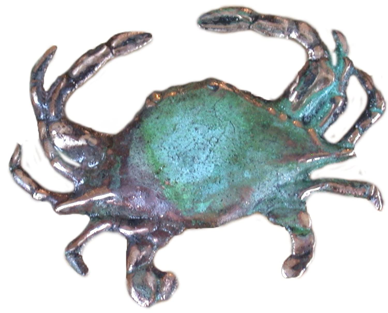 Verdigris Patina Solid Brass Crab Pin