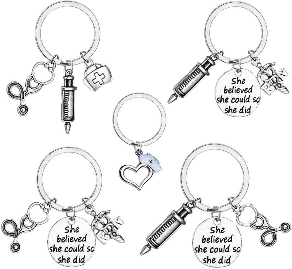 YouCY Stethoscope Key Chain Doctor Syringe Keychain Nurse Medical Keychain She Believed She Could So She Did Keychain Nurse Gift Letter Keychain