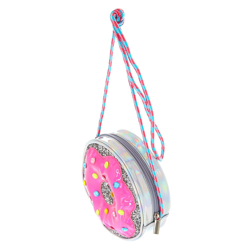 b88180138e Claire s Girl s Holographic Glitter Donut Crossbody Bag Silver  Claire s   Amazon.co.uk  Clothing
